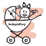 Babymeisje in de kinderwagen, grappige illustratie, krabbel, vectorpictogram stock illustratie