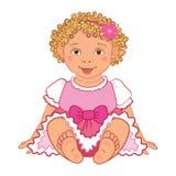 Babymeisje in de roze Vector van kledings Gelukkige prinsen Royalty-vrije Stock Fotografie