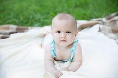 Babymeisje die op het gras kruipen Royalty-vrije Stock Afbeeldingen
