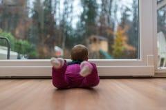 Babymeisje die uit het venster kijken royalty-vrije stock afbeelding