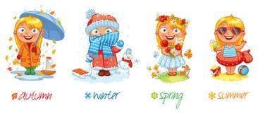 Babymeisje en de vier seizoenen stock illustratie