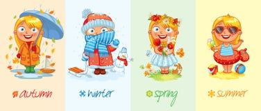 Babymeisje en de vier seizoenen Royalty-vrije Stock Afbeelding