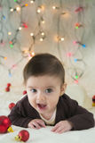 Babymeisje in haar eerste Kerstmis Royalty-vrije Stock Fotografie