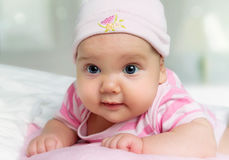Babymeisje 3 maand oud portret Stock Fotografie