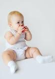 Babymeisje met appel Royalty-vrije Stock Fotografie