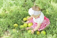 Babymeisje met appelen in de tuin Royalty-vrije Stock Fotografie