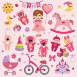 Babymeisje met Babystuk speelgoed pictogrammen EPS Royalty-vrije Stock Afbeelding