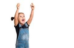 Babymeisje met omhoog handen Geïsoleerde Royalty-vrije Stock Fotografie