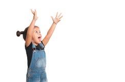 Babymeisje met omhoog handen Geïsoleerde Stock Afbeeldingen