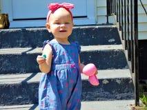 Babymeisje met Roze Hoofdband stock afbeelding