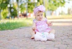 Babymeisje met teddybeer Royalty-vrije Stock Foto
