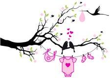 Babymeisje met vogels op boom, vector Stock Foto's