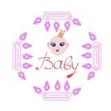 Babymeisje in één kaart van de verjaardagsuitnodiging Royalty-vrije Stock Foto's