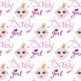 Babymeisje in één kaart van de verjaardagsuitnodiging voor babydouche Stock Fotografie