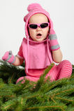 Babymeisje op Nette Naalden Royalty-vrije Stock Afbeelding