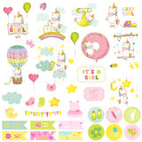 Babymeisje Unicorn Scrapbook Set Decoratieve Elementen Stock Foto's