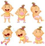 Babymeisje in zes acties stock illustratie