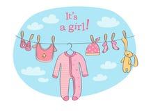 Babymitteilungskarten-Vektorillustration stock abbildung