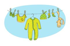 Babymitteilungskarten-Vektorillustration lizenzfreie abbildung