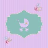 Babyparty - nette Karte für Mädchen Lizenzfreie Stockfotografie