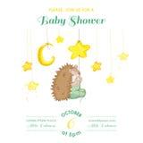 Babyparty oder Ankunfts-Karte - Baby-Igel-fangende Sterne Stockbild