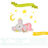 Babyparty oder Ankunfts-Karte - Baby-Mäusemädchen Lizenzfreies Stockbild