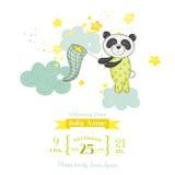 Babyparty oder Ankunfts-Karte - Baby Panda Catching Stars Stockbild