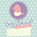 Babypartyeinladung mit Babydinosaurier Lizenzfreies Stockbild