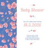Babypartyeinladungskarte mit Blumen Lizenzfreie Stockfotos