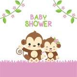 Babypartygrußkarte mit Mutter- und Babyaffen vektor abbildung