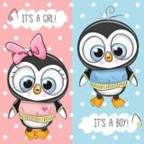 Babypartygrußkarte mit Pinguinen Stockbilder