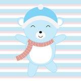 Babypartyillustration mit dem netten Bären des blauen Babys passend für Einladungskarte, Postkarte und Kindertagesstättenwand Lizenzfreie Stockfotografie