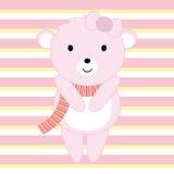 Babypartyillustration mit dem netten rosa Babybären passend für Einladungskarte, Postkarte und Kindertagesstättenwand Stockfoto