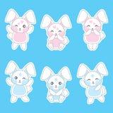Babypartyillustration mit nettem blauem Kaninchen auf Sparrenhintergrund stock abbildung