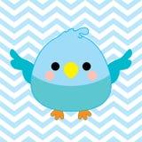 Babypartyillustration mit nettem Vogelbaby auf blauem Sparrenfarbhintergrund Stockfoto