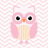 Babypartyillustration mit netter rosa Babyeule auf rosa Sparrenhintergrund Lizenzfreies Stockfoto