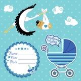 Babypartykarte, Einladung, Einklebebuch mit Storch und asiatischer Junge stock abbildung