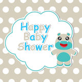 Babypartykarte mit Karikatur des netten Babyflusspferdrahmens auf dem Tupfenhintergrund passend für Babypartykarte Lizenzfreies Stockfoto