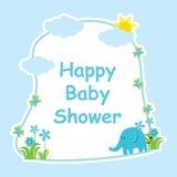 Babypartykarte mit nettem Elefanten, Blumen, Schmetterling und Sonne Lizenzfreie Stockbilder