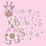 Babypartykarte mit netter Babygiraffe auf rosa Hintergrund Stockbild