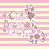 Babypartykarte mit netter Babygiraffe auf Streifenhintergrund Stockfotografie