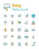 Babypictogrammen geplaatst vlakke lijnstijl Royalty-vrije Stock Afbeeldingen
