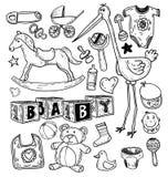 Babypictogrammen, vectorillustratie Stock Foto