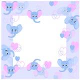 Babyrahmen mit Babyelefanten Lizenzfreies Stockfoto