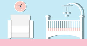 Babyraum Kindertagesstättenrauminnenraum mit Möbeln Lebhafte Karikatur-Video, 2D in 4K stock abbildung