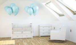 Babyraum mit blauen Ballonen lizenzfreies stockfoto