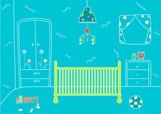 Babyraum mit einem Bett und Spielwaren, Vektorillustrationen Lizenzfreies Stockfoto