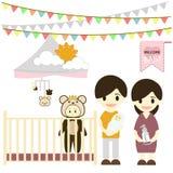 Babyraum mit Möbeln Kindertagesstätteninnenraum Flache Artvektorillustration vektor abbildung