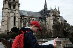 Babyreizen Kathedraal van Notre Dame de Paris France 03 20 2019 stock foto's