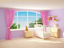Babyroom met groot venster Royalty-vrije Stock Afbeelding